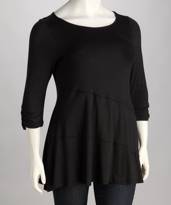Black Ruched Three-Quarter Sleeve Top - Plus