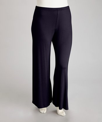 Navy Plus-Size Wide-Leg Pants