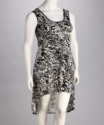 Black & White Floral Damask Hi-Low Dress - Plus