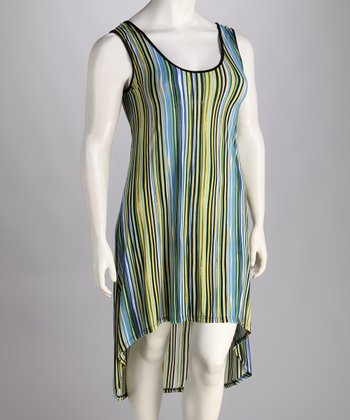 Blue & Green Stripe Hi-Low Dress - Plus