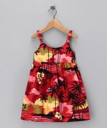 Red Island Hibiscus Dress - Infant & Toddler
