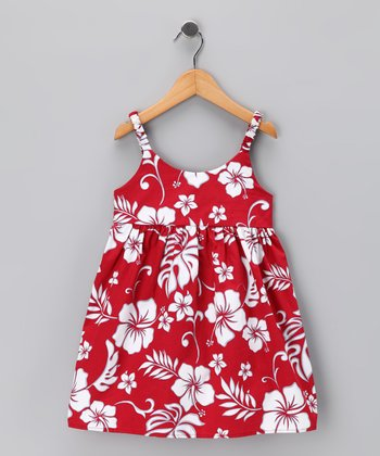Red Hibiscus Dress - Infant & Toddler
