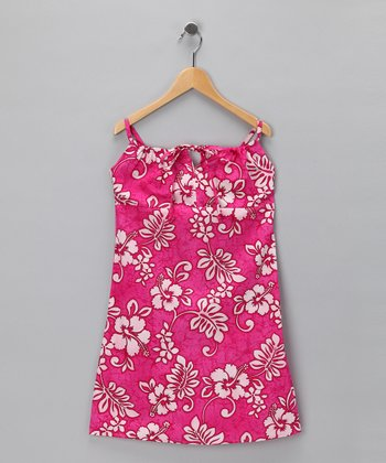 Pink Hibiscus Bow Dress - Girls