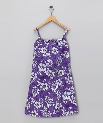 Purple Hibiscus Bow Dress - Girls