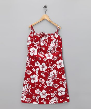 Red Hibiscus Bow Dress - Girls