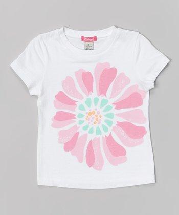 White & Pink Flower Tee - Toddler & Girls