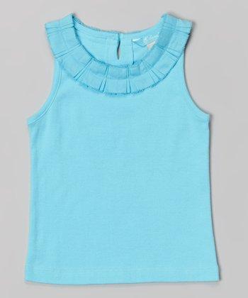 Marine Aqua Stacked Ribbon Collar Tank - Toddler & Girls