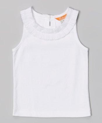 White Stacked Ribbon Collar Tank - Toddler & Girls