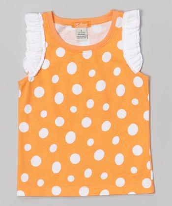Pale Orange Polka Dot Tank - Toddler & Girls