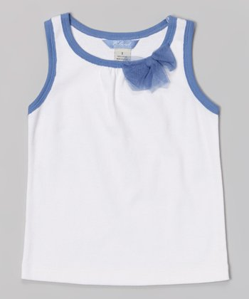 White & Blue Bow Tank - Toddler & Girls