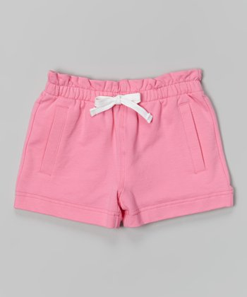 Preppy Pink Drawstring Shorts - Girls