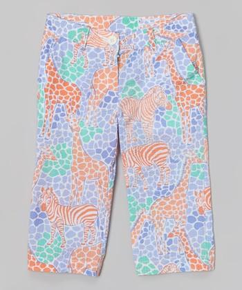 Neon Peach Giraffe Capri Pants - Girls