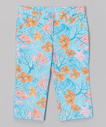 Marine Aqua Hawaii Capri Pants - Toddler & Girls