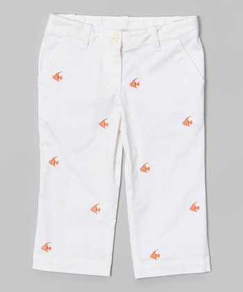 White Goldfish Embroidered Capri Pants - Toddler & Girls