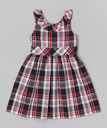 Navy & Red Plaid Diana Dress - Toddler & Girls