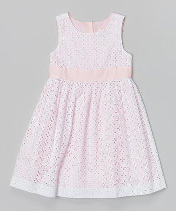 Candy Pink Eyelet Jackie Dress - Girls