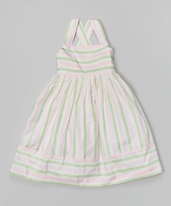 Candy Pink & Mint Stripe Lanna Silk Dress - Toddler & Girls