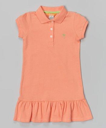 Neon Peach Polo Dress - Toddler