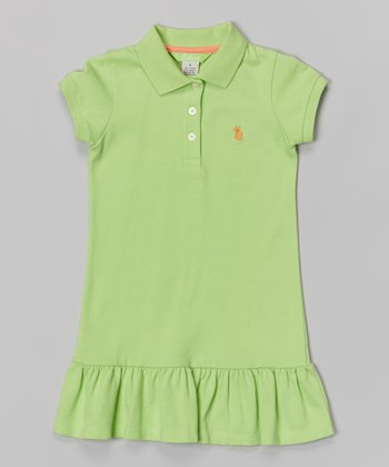 Sea Green Polo Dress - Girls