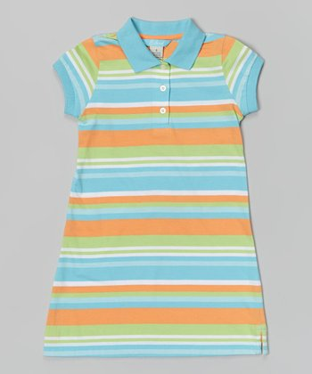 Marine Aqua Stripe Brooke Polo Dress - Girls