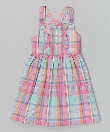 Preppy Pink & Aqua Plaid Meg Dress - Toddler & Girls