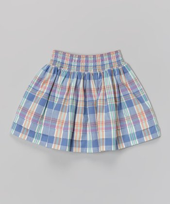 Hydrangea & Coral Plaid Party Skirt - Girls