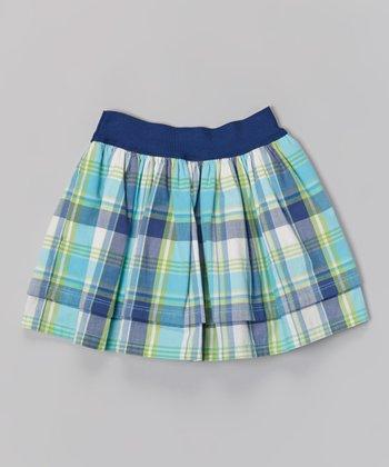 Bali Blue & Teal Plaid Party Skirt - Toddler & Girls