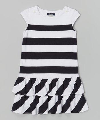 White & Navy Maritime Dress - Girls