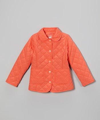 Orange Quilted Jacket - Toddler & Girls