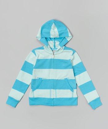Blue & Mint Rugby Stripe Zip-Up Hoodie - Toddler & Girls