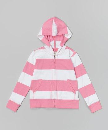 Preppy Pink & White Rugby Stripe Zip-Up Hoodie - Toddler & Girls