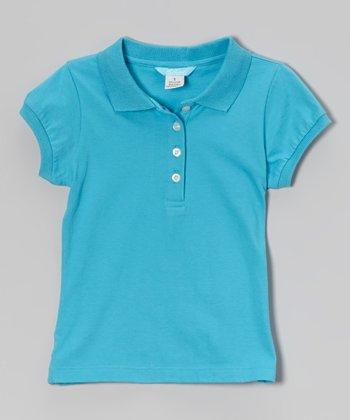 Blue Cap-Sleeve Polo - Toddler & Girls
