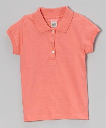 Coral Cap-Sleeve Polo - Girls