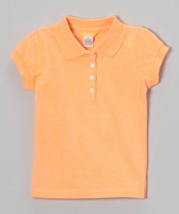 Orange Cap-Sleeve Polo - Toddler & Girls