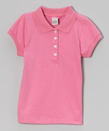 Preppy Pink Cap-Sleeve Polo - Girls