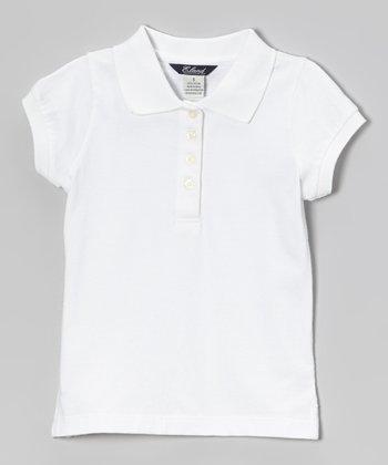 White Cap-Sleeve Polo - Girls