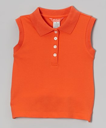 Orange Sleeveless Polo - Toddler & Girls