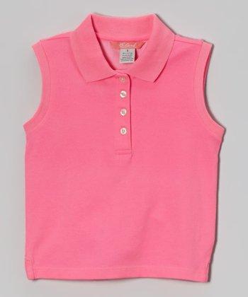 Preppy Pink Sleeveless Polo - Toddler & Girls