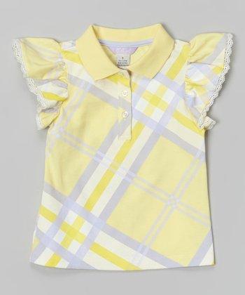 Lemon Lattice Angel-Sleeve Polo - Toddler & Girls