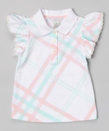 White Lattice Angel-Sleeve Polo - Toddler & Girls