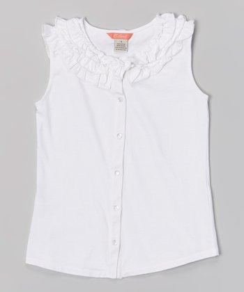 White Ruffle Sleeveless Button-Up - Girls