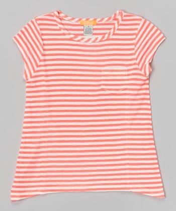 Neon Pink Stripe Sidetail Tee - Toddler & Girls