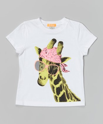 White Cool Giraffe Tee - Toddler & Girls