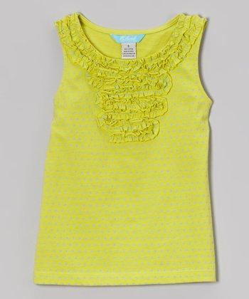 Yellow-Green Pindot Ruffle Tank - Toddler & Girls