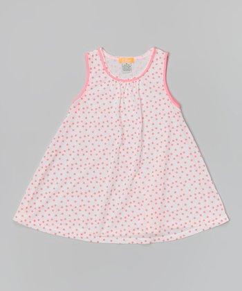 White & Neon Pink Star Tank Dress - Toddler & Girls