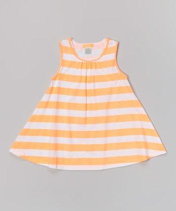 White & Neon Orange Stripe Tank Dress - Toddler & Girls