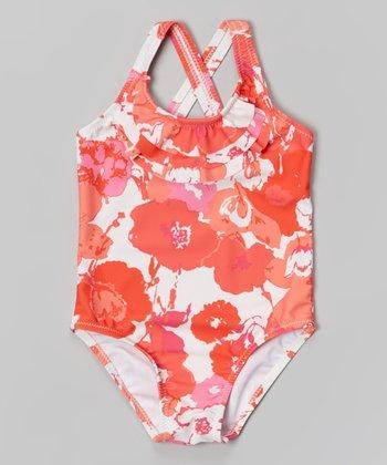 Orange Splashy Flower One-Piece - Toddler & Girls