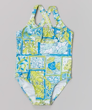 Yellow-Green Sea Creatures One-Piece - Toddler & Girls