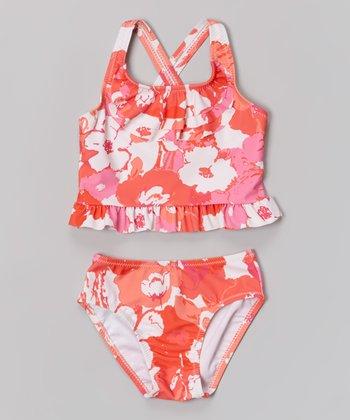 Orange Splashy Flower Tankini - Toddler & Girls