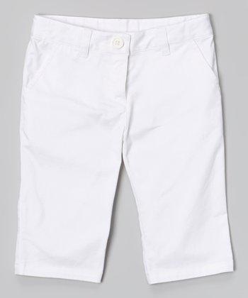 White Classic Capri Pants - Toddler & Girls